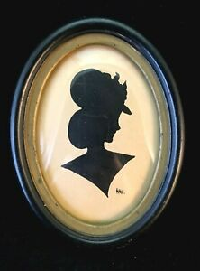 Small Antique Framed Original Pen and Ink Silhouette 1940's