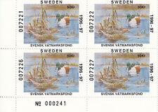 SWEDEN MNH Waterfowl 1996 Jaffe SWE1 Block of 4 Value $ 40.00