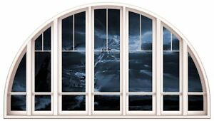 Huge 3D Arched Window Fantasy Pirate Ship View Wall Stickers Film Art Decal 451