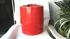 "Red Vintage Hat Wig Storage Suit- Case Mfg Usa Heavy Gage Plastic 14 X 12"" Nice"