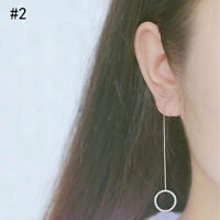 PAIR OF SILVER PLATED LONG DROP LINE CIRCLE CHAIN EARRINGS UK SELLER