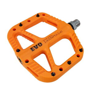 Nylon fiber MTB Road Bike Pedal DU Bearing Bicycle Flat Platform Pedals Orange
