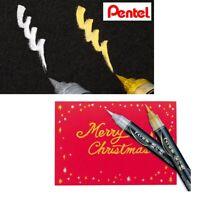 Pentel Fude Brush Pen Medium Tip Gold/Silver Ink Choose from 2 colors