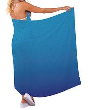 BLUE GEOMETRIC DESIGN CHIFFON SARONG SWIMWEAR BEACH COVER UP WRAP L&S PRINTS