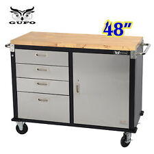 "GUFO 48"" Roller Cabinet Toolbox Timber Top Work Garage Storage Cupboard 4 Drawer"