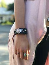 Harley Davidson 925 Sterling Silver Emblem Leather Strap Bracelet for Women