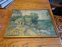 Stanley H Walker 1929 ART PRINT GOLD WOOD PICTURE FRAME ANTIQUE VTG 19.5X16 OLD