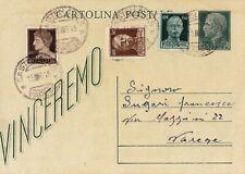 CARTOLINA POSTALE VINCEREMO 1945 FRANCOBOLLI AGGIUNTI - RARA - CASTELLANZA