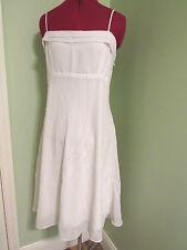 Sally USA~NWT $68.99  White Formal Chiffon Spaghetti Strap Dress w/Beads~ XXL