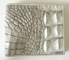 WHITE PEARL IVORY REAL GENUINE CROCODILE BACKBONE SKIN LEATHER WALLET NEW MENS