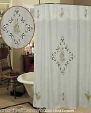 Spring Floral Cutwork Fabric Shower Curtain Beige Creative Linens 8282 Free S&H