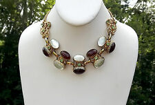 RARE VINTAGE SELRO LUCITE JELLY BELLY & FAUX CARNELIAN CABS RHINESTONE NECKLACE