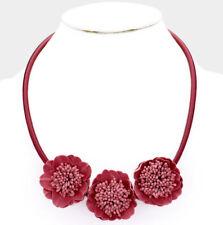 MARNI H&M Burgundy Bloom Flower Decor Collar Necklace
