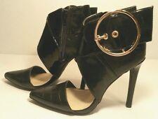 Izabella RUE Damia Zip Cuffed Stiletto High Heels Black Patent Shoes Women's 6 M