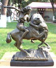 Western art deco bronze seminude women girl hunting leopard panther sculpture