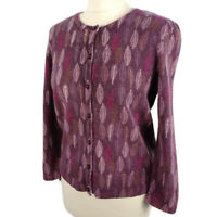 Laura Ashley 10 12 Purple Leaf Cardigan Fitted Lambswool Angora Blend Winter