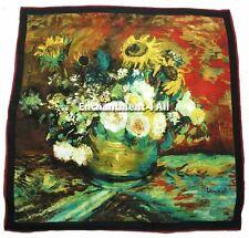 "Large Handmade 100% Pure Silk Art Scarf Wrap w/ Van Gogh ""Bowl w/ Sunflowers..."""