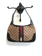 $795 GUCCI Beige Brown Monogram GG Web Canvas Striped Jackie O Hobo Bag SALE!