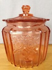 PINK DEPRESSION GLASS MAYFAIR OPEN ROSE BISCUIT/COOKIE JAR