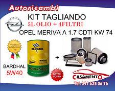 KIT FILTRI TAGLIANDO OPEL MERIVA A 1.7 CDTI 74KW  09/2003+ 5L OLIO BARDAHL 5W40