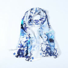 Digitally Printed Long Silk Satin Scarf Blue and White Floral Print DCC051