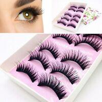 5 Pairs Handmade Natural Long Black Makeup Thick Fake False Eyelashes Cosmetic