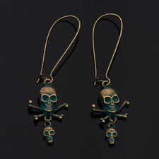 New Punk Women Skull Pirate Gothic Tibet Bronze Earrings Bronze Hook Earrings