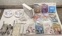 Nintendo Wii Console Mario Kart 2 Wheels GameCube Compatible 10 Games! Sonic!