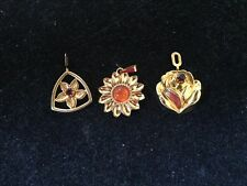 Trio of Silver Floral Pedants With Gold Overlay Inset With Colour Stones
