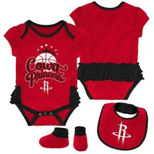 Houston Rockets NBA / Bodysuit Bib Booties / Baby Girl / Court Princess / 6-9m