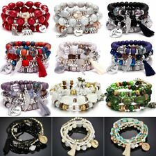 Womens Multilayer Natural Stone Crystal Tassel Bangle Beaded Bracelet Jewellery
