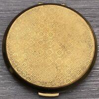 Vintage Stratton Brass Engine Turned Floral Design Powder Compact w Mirror Gift