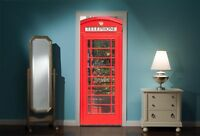 Door Mural British Phone Box Booth View Wall Stickers Decal Wallpaper 321
