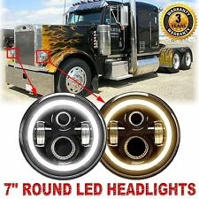 "2x 7""inch CREE LED Headlamps Headlight Bulb with Halo DRL for Peterbilt 359 379"