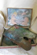 ANTIQUE FRENCH 30's PAINTERS PALETTE & BOX W/PAINTINGS TO THE LID/BASE NAIVE ART