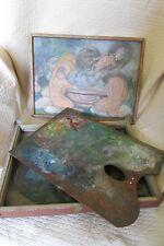 Antico Francese anni'30 PITTORI Tavolozza & Box con dipinti per il coperchio/base ingenuo ART