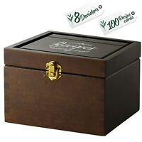 Recipe Card Box Set(beech wood) with 100 4x6 Recipe Cards + 8 Dividers- US Stock