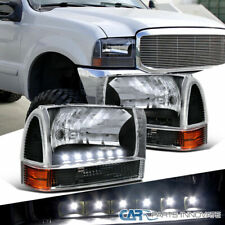 99-04 F250 F350 F450 Excursion Black SMD LED DRL Headlights+Corner Parking Lamps