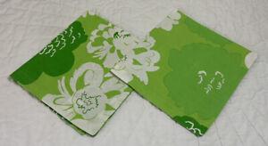 Two Large Dinner Napkins, Cotton, Printed Floral Design, Green, Crate & Barrel