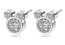 Small Disney Mickey Mouse CZ Silver Plated Stud Earrings Christmas birthday 920