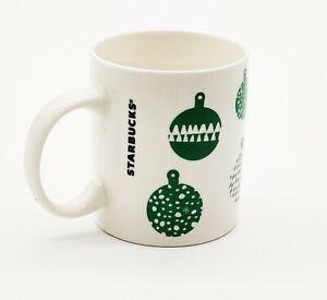 Starbucks 2016 Christmas Mug Cup White with Green Ornaments Coffee/Tea 12 oz