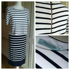 DICKINS & JONES size 14 Navy & White Breton Stripe Jersey Short Sleeve DRESS