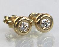 ECHT GOLD *** 1 Paar Zirkonia Ohrstecker 5,5 mm