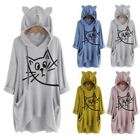 Women's Fashion Hooded Long Sleeves Cat Ear Print Pocket Shirt Irregular Blouse