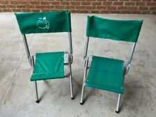Vintage 1996 Master's Green Canvas Folding Chairs (2)