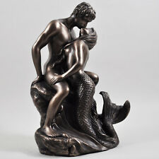 Mermaid Naked Figures Lovers Embrace Sculpture Bronze Erotic Statue H23cm 01081