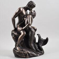 SIRENA nuda figure Amanti Abbraccio Scultura Statua Bronzo Erotica h23cm 01081