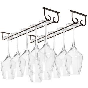 17'' Wine Glass Rack Under Cabinet Shelf Bar Holder Stemware Storage Hanger