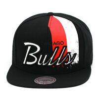 "Mitchell & Ness Chicago Bulls Snapback Hat ""Drip Stripe"" Black/Red/White"