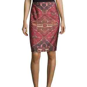 Tory Burch Kera Kilim Wool Silk Tapestry Pencil Skirt Size 8